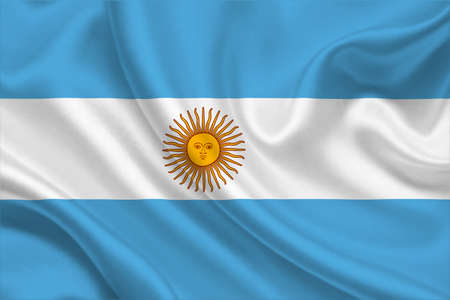 3D Flag of Argentina on wrinkled fabric.