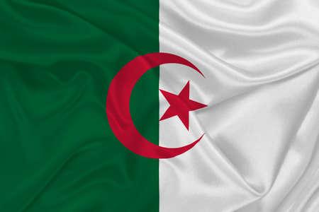 3D Flag of Algeria on wrinkled fabric.