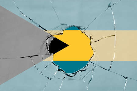 3D Flag of Bahamas on a glass breakage. Banco de Imagens