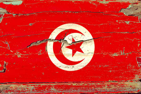 3D Flag of Tunisia on a old wood wall background. Banco de Imagens
