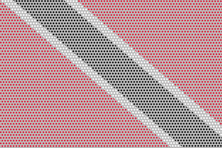 3D Flag of Trinidad and Tobago on a metal wall background.