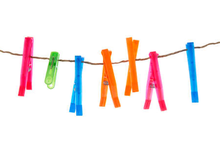clothespegs: clothes-pegs isolated on white background Stock Photo