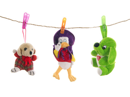Stuffed animal toys with clothes pegs  on rope, isolated on  white background photo