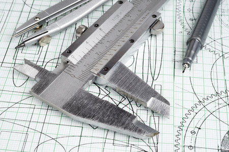 plotting: vernier callipers , compasses, technical pen and drawings Stock Photo