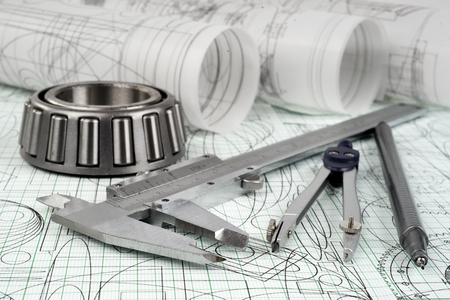 calipers: roller bearing, vernier callipers , compasses, technical pen and drawings Stock Photo