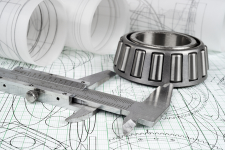 plotting: roller bearing, vernier callipers  and drawings