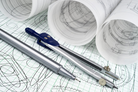 plotting: technical pen, compasses and drawings