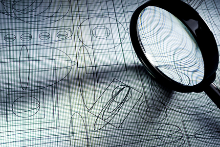 plotting: drawing and magnifying glass, selective focus