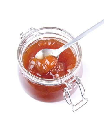 Jam of white cherry isol?ted on white photo