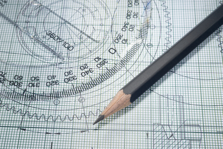protractor: drawing, protractor and pencil