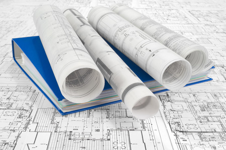 architecture plans: Blue folder document and project drawings Stock Photo