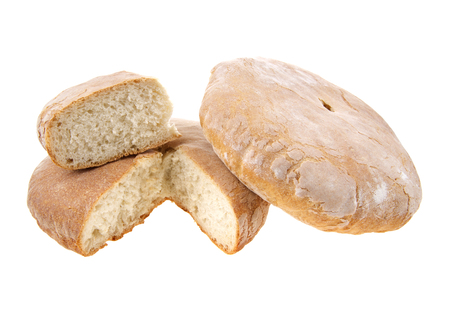 rubicund: Two round loaf of bread isolated on white