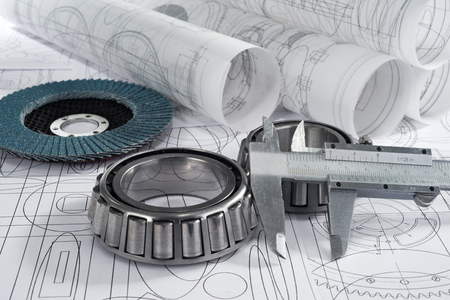 assembly line: roller bearings, gauge, grinding disc  and drawings