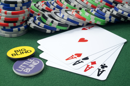 Four aces and chips on a green felt