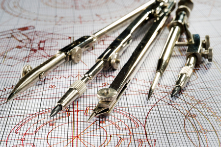 compasses  and drawings Stockfoto