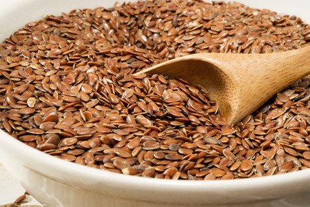 linseed: flax seed, selective focus Stock Photo