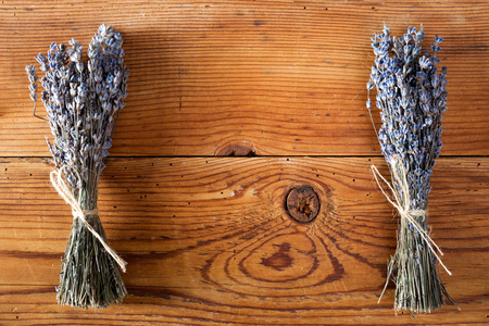 dry lavender bunch on wooden background