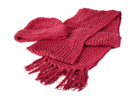 knitted scarf and cap with fringe isolated on white background Stock Photo