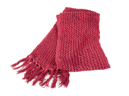 Red textile scarf isolated on white background