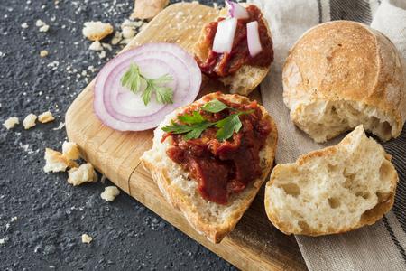 sliced bread and chutney Stock Photo