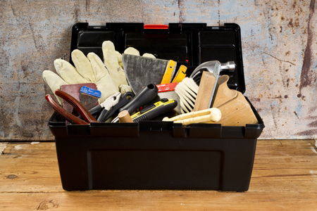 tools in black  tool box Stock Photo