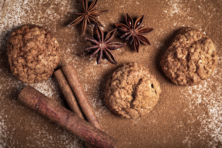 Homemade cookies,  cinnamon and anisee Stock Photo