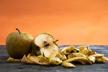 apples on wooden table Stock Photo