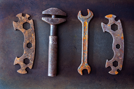 Old tools on background Standard-Bild