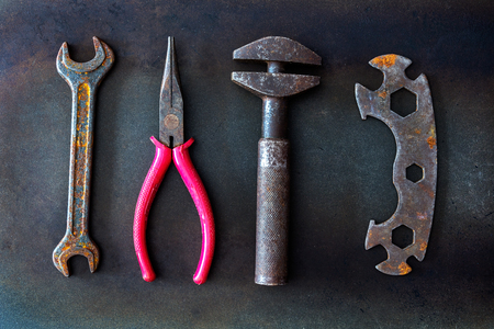 old tools on background