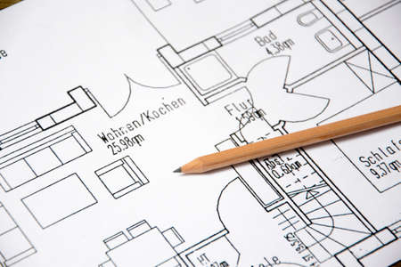 architecture project: Architectural drawing Stock Photo