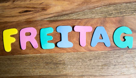 Freitag: Word freitag formed by colorful letters Stock Photo