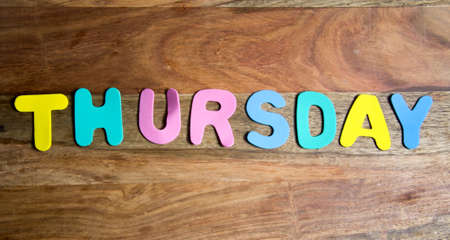 thursday: Word thursday formed by colorful letters