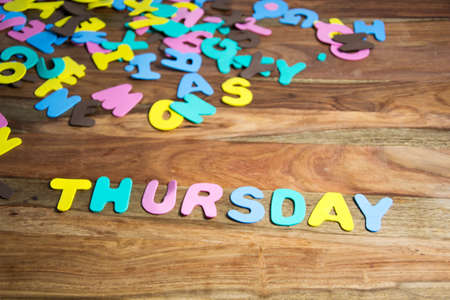 the thursday: Word thursday formed by colorful letters