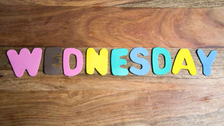 wednesday: word wednesday formed by colorful letters