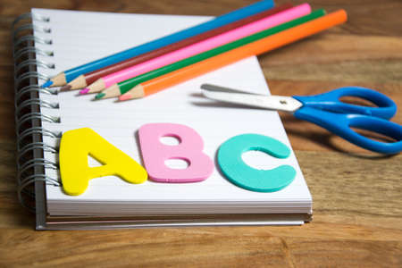 school supplies: symbol for first day of school Stock Photo