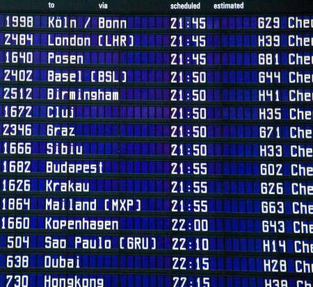cronograma: horario del aeropuerto Foto de archivo