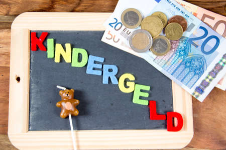 The german term for child allowance in colored letters