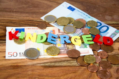 allowance: The german term for child allowance in colored letters