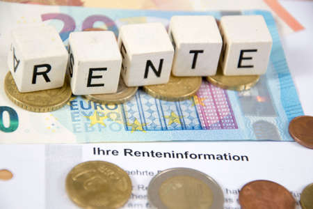 a jar stand: Rente - the german word for pension