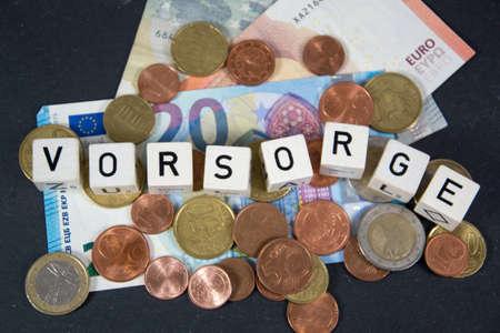 Vorsorge - the german word for financial precautions Banco de Imagens