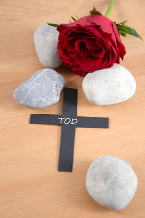 mournful: a funeral card Stock Photo