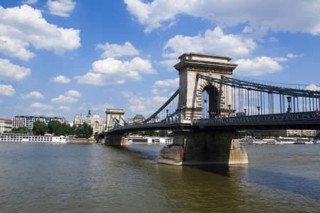 crone: Chain Bridge in Budapest Stock Photo