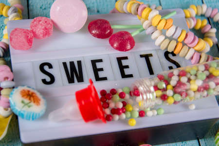 lightbox with different sweets Stock Photo