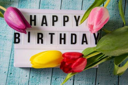 Lightbox with the words Happy Birthday Stock Photo