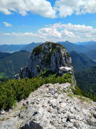 hiking on the mountain Roß-und Buchstein in Bavaria Editorial
