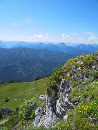 hiking on the mountain Roß-und Buchstein in Bavaria Stock Photo