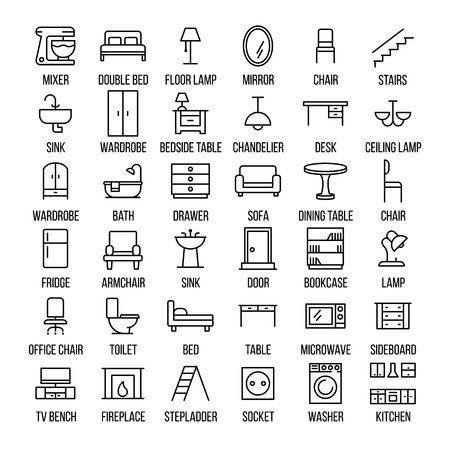 sideboard: Set of furniture icons in modern thin line style. High quality black outline home symbols for web site design and mobile apps. Simple linear interior pictograms on a white background. Illustration