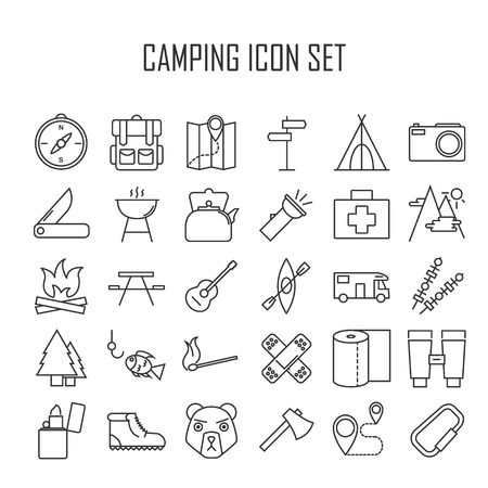hiking boots: Camping icons. Outdoor equipment. Swiss knife, axe, hiking boots, map, compass and other things for camping. Line art vector illustration. Illustration
