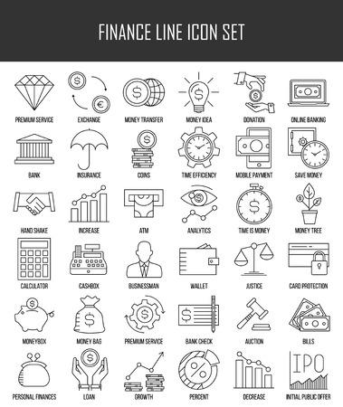 iconos de líneas finas Conjunto moderno de las finanzas, la inversión, la banca y el dinero. calidad de la captación símbolo del esquema de suscripción. Paquete simple pictograma mono lineal para gráficos web. Bolsillo, hucha de las monedas, y otros.