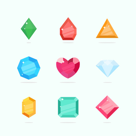 diamond stones: Cartoon vector gems and diamonds set in a flat style in different colors. Diamond stones isolated on a colored background. Vector illustration.